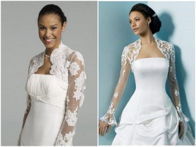 La imagen de la izquierda, es una chaqueta de encaje de manga larga de David's Bridal. La foto de la derecha, es una propuesta de Alfred Angelo Bridal