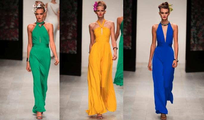 Vestidos de fiesta largos para fiesta en colores verde, amarillo y azul intenso - Foto Issa
