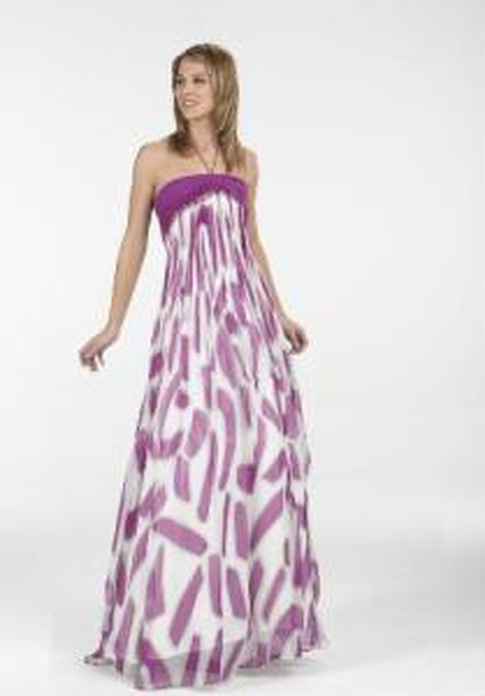 Novissima 2009 - Vestido largo violeta y blanco, de corte imperio, de escote recto