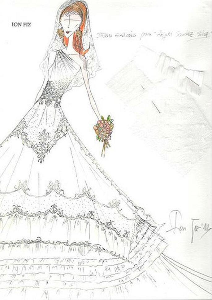 El diseñador Ion Fiz ha desvelado el boceto original del vestido de novia de la presentadora. Foto: Twitter