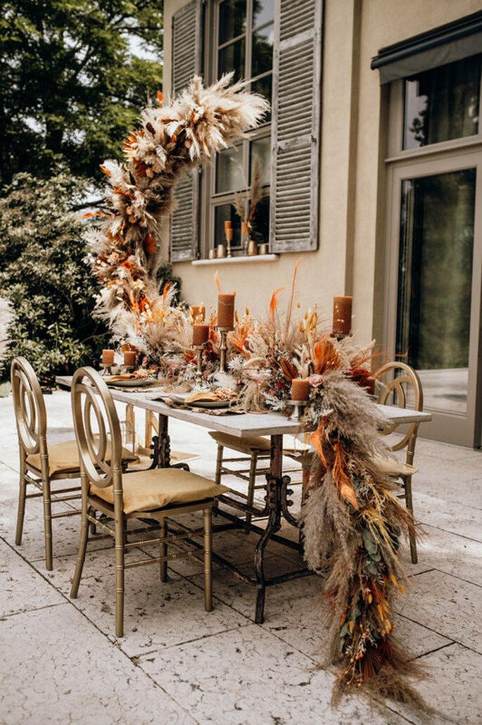 Tischdekoration Garten Trockenblumen