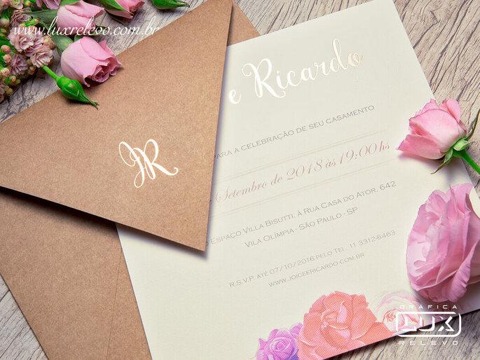 Convite romântico da Gráfica Lux Relevo