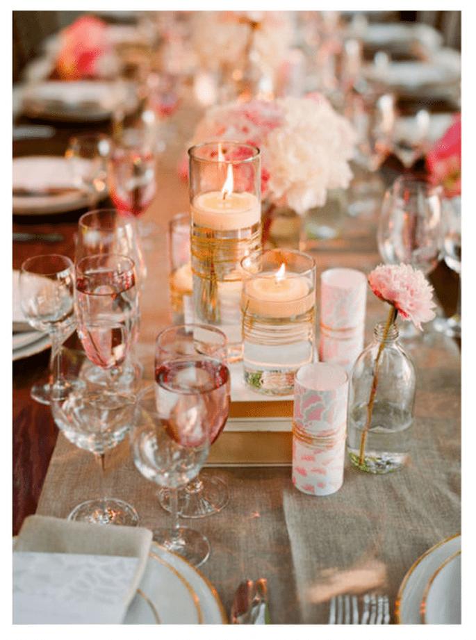Centros de mesa y montaje para el banquete en color rosa pastel - Foto Lisa Lefkowitz