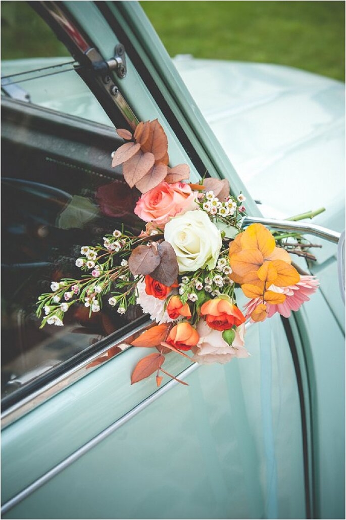 flores en el coche