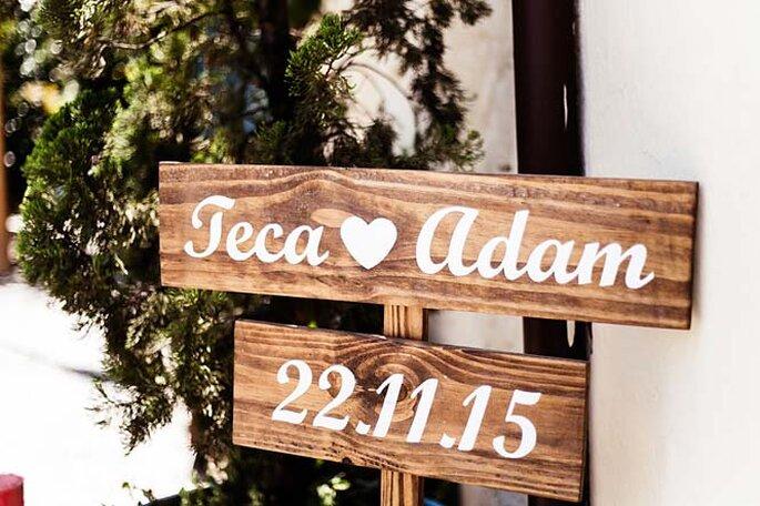 Placa entrada do casamento
