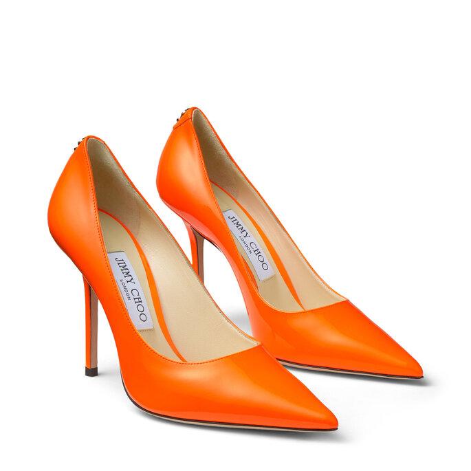 Zapatos de novia stilettos en naranja de matiz satinado