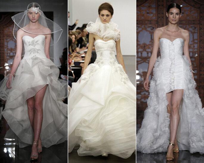 Lange Brautkleider müssen nicht immer klassisch sein – Foto: Reem Acra, Vera Wang