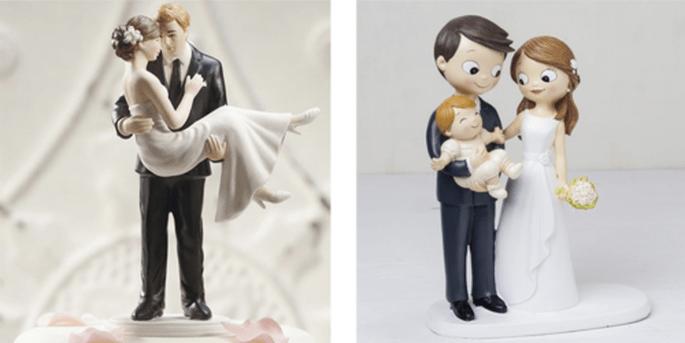 Cake topper mariée dans les bras du marié et Cake topper mariés avec bébé