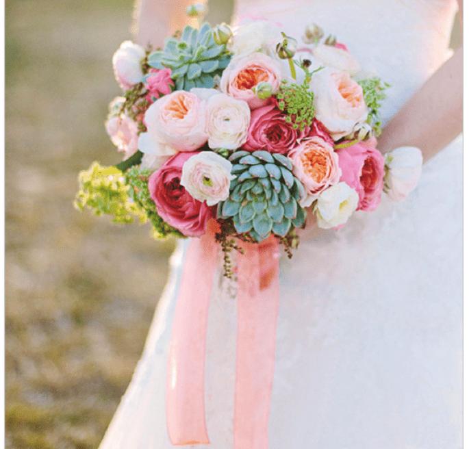 Decoración de boda con elegantes suculentas - Foto Amanda Jameson Photography