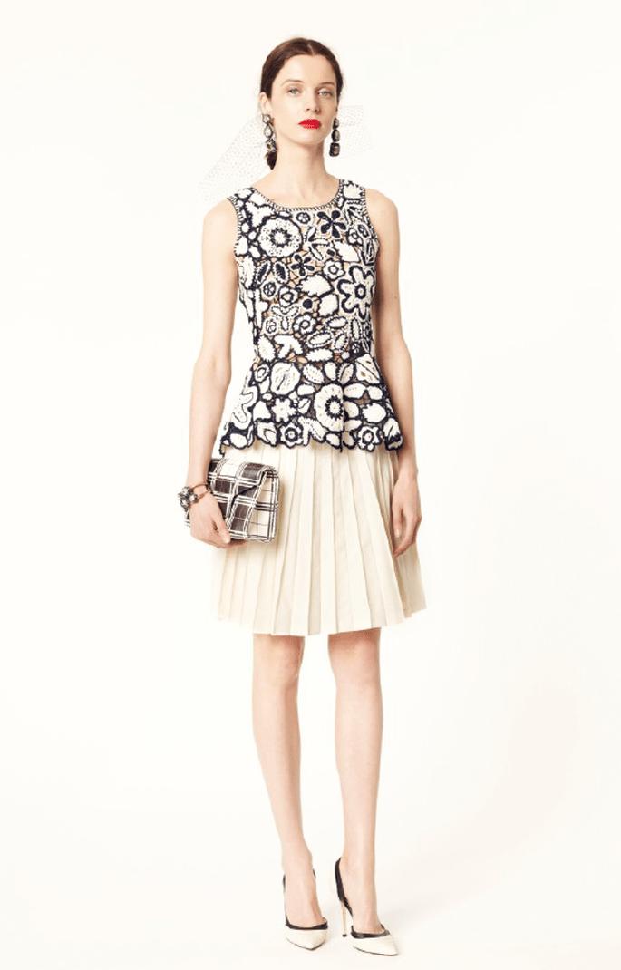 Falda midi y blusa de estampado floral
