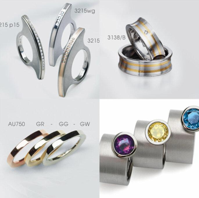 Ringe von TITAN-pur: Kombinationen mit Gold, Silber und farbigen Steinen, und aus verschiedenem Material.