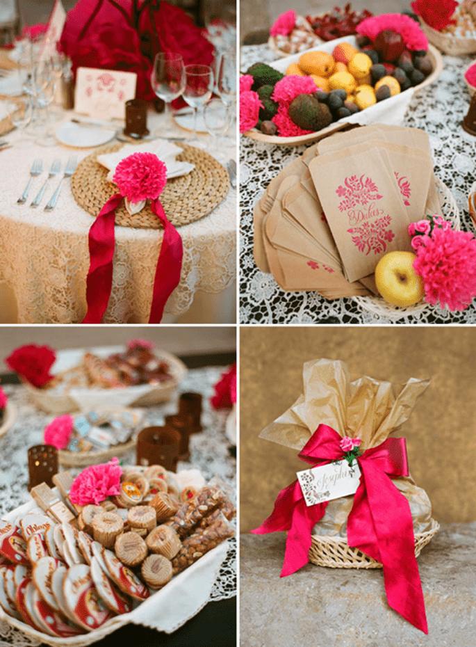 Detalles para mesa y dulces con flores en color rosa mexicano - Foto Aaron Delesie
