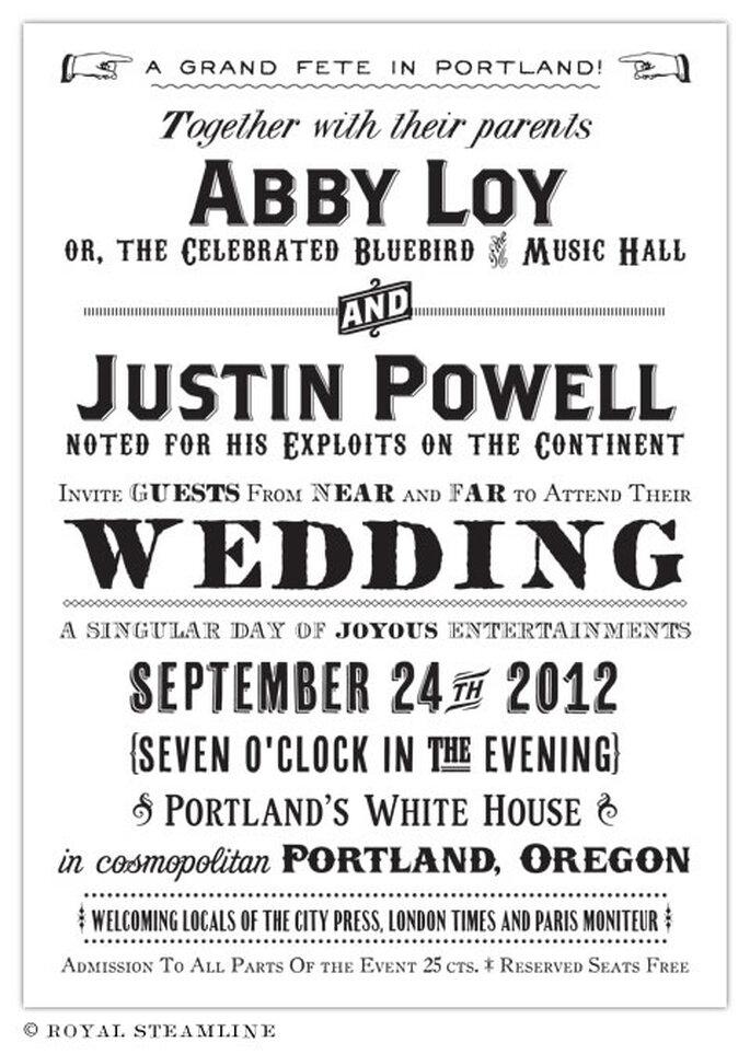 Invitación de boda estilo poster retro - Foto: Royal Steamline