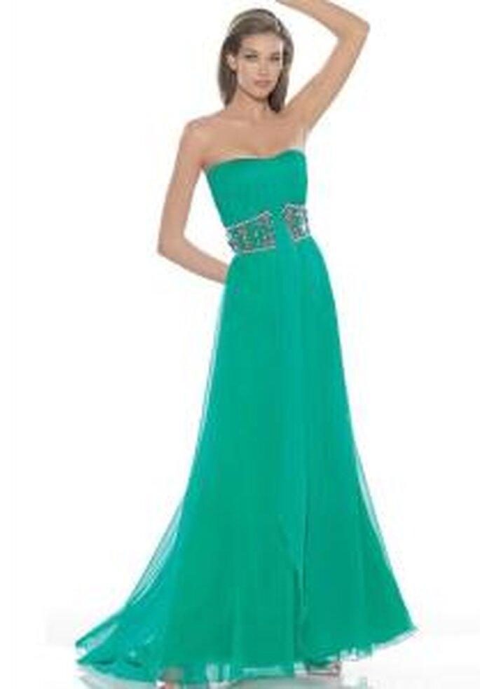 La Sposa 2009 - Vestido verde largo, escote palabra de honor, corte imperio con cinturón en pedrería