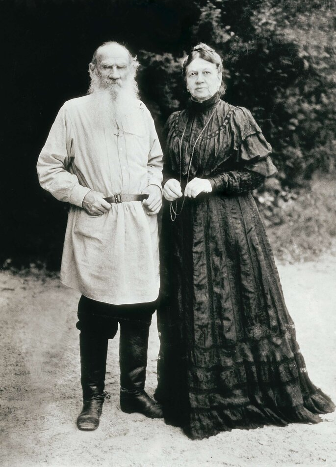 Credit: Everett - Art  shutterstock TOLSTOY, Lev Nikolayevich, Leo (1828-1910), Portrait of Leo Tolstoy and his wife Sophia, TULA