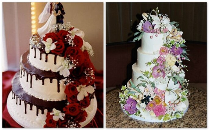 Torte nuziali con diversi livelli adornate con fiori rossi o pastello
