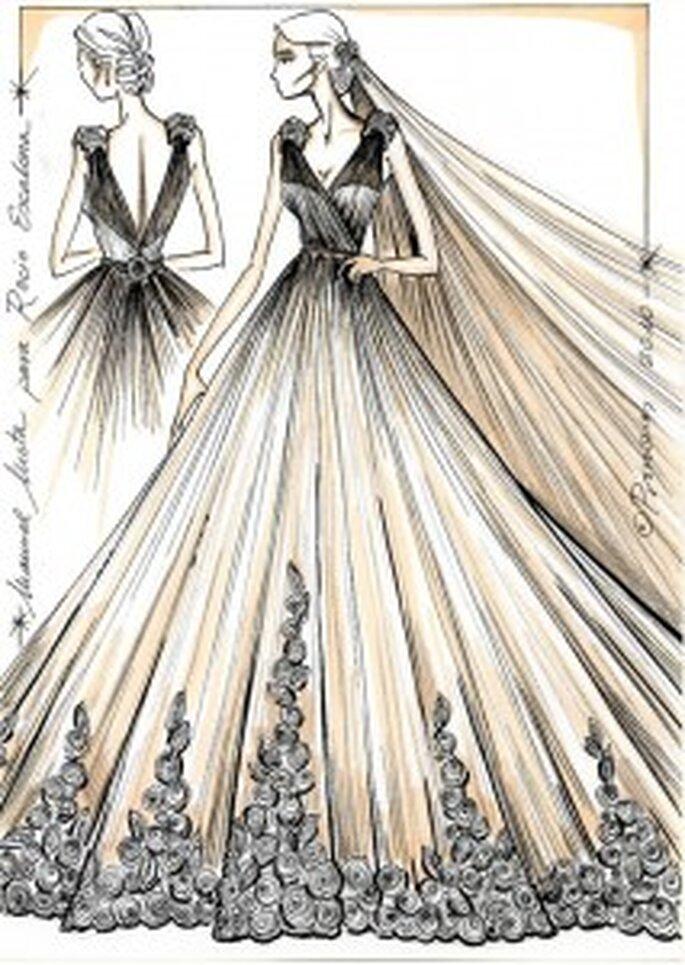 Boceto del vestido de novia de Rocío Escalona - Pronovias