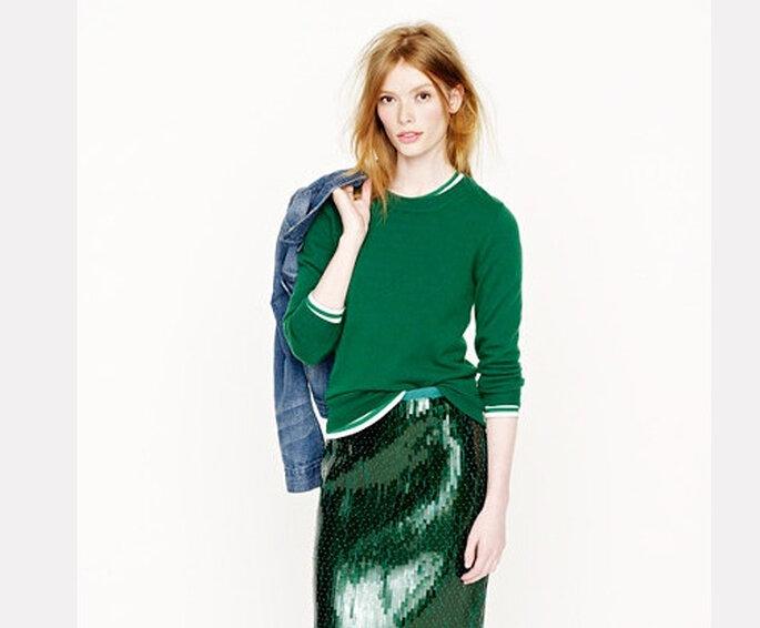 Look casual de couleur vert émeraude. Photo: www.jcrew.com