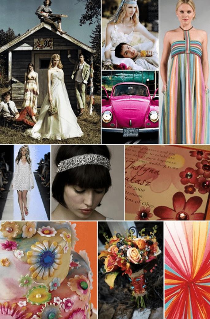 Ideen für eine Hochzeit im Hippie Stil. Foto: pourfemme.it