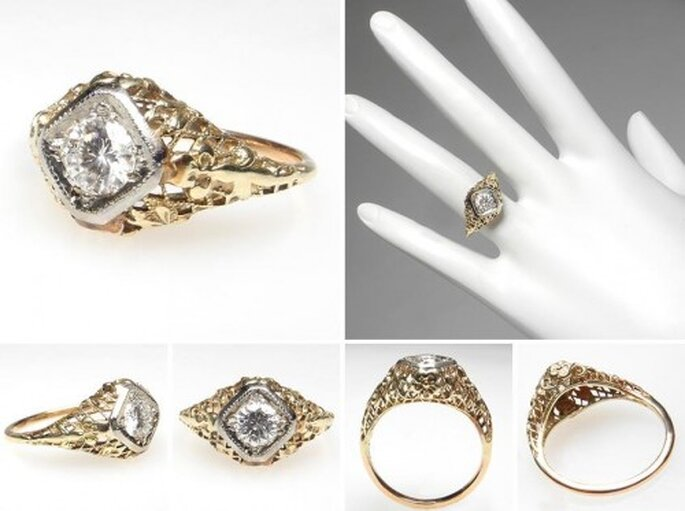Anillo de compromiso de oro con diamante estilo antiguo - Foto Eragem