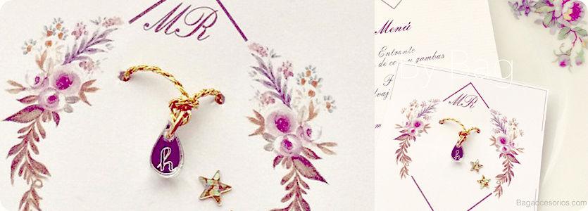 Pulseras little drops con packaging personalizado para bodas y eventos.