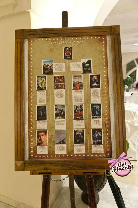 Coi Fiocchi wedding design - tableau mariage tema telefilm
