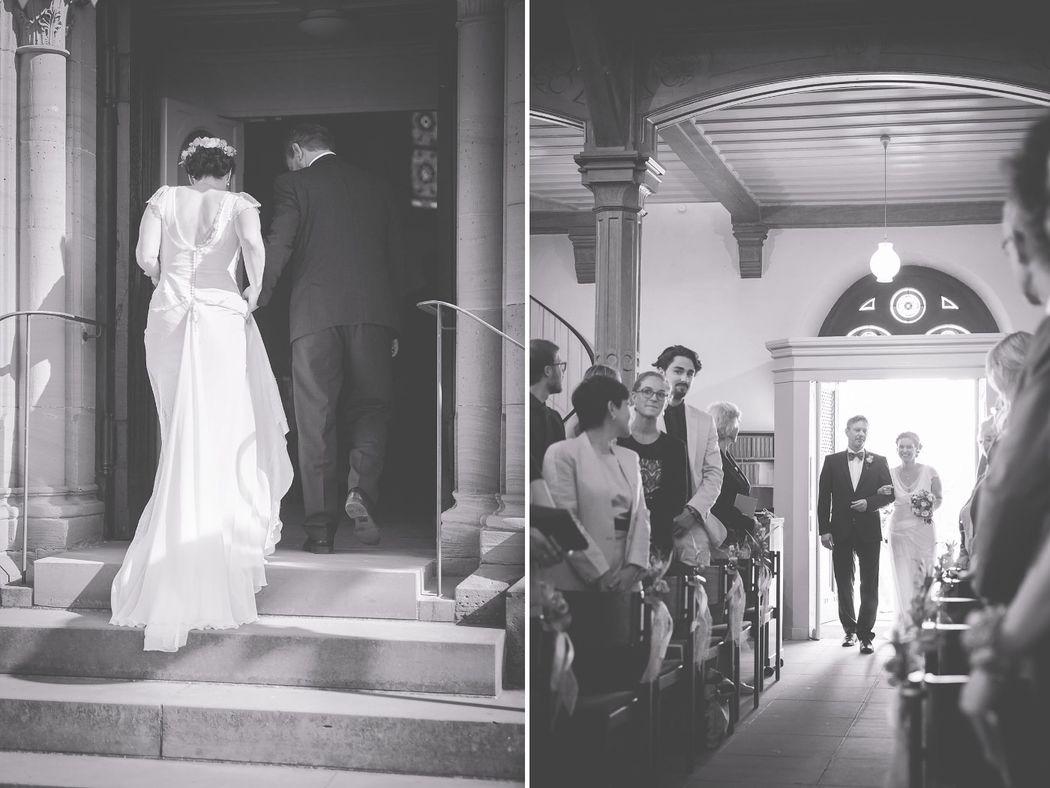 Einzug der Braut in die Kirche.