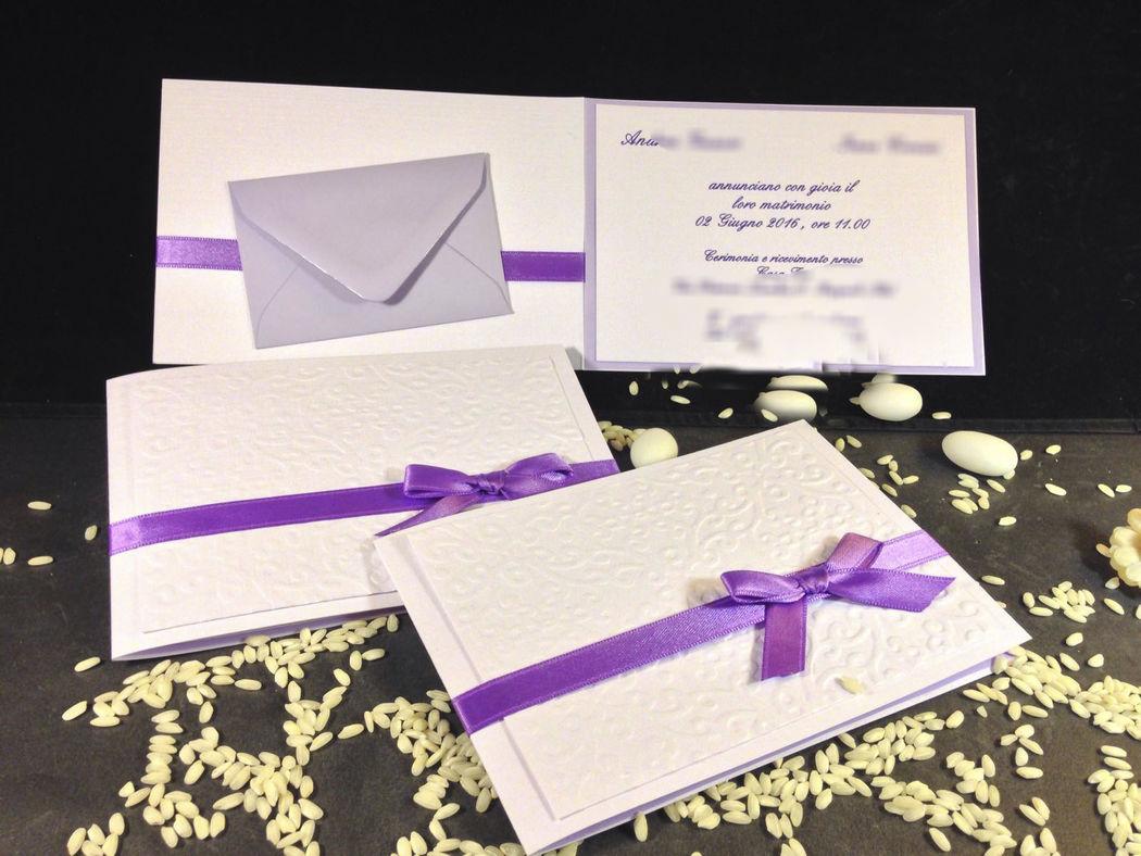 Partecipazione nozze con rilievi e busta per lista nozze www.stampaecrea.it