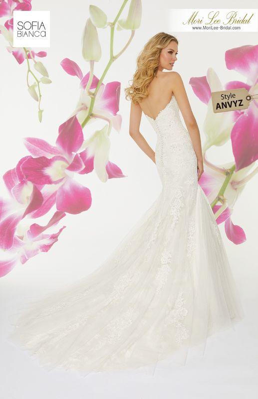 Style ANVYZ Sahara  Diamanté and crystal beaded alençon lace appliqués on a tulle over chantilly lace