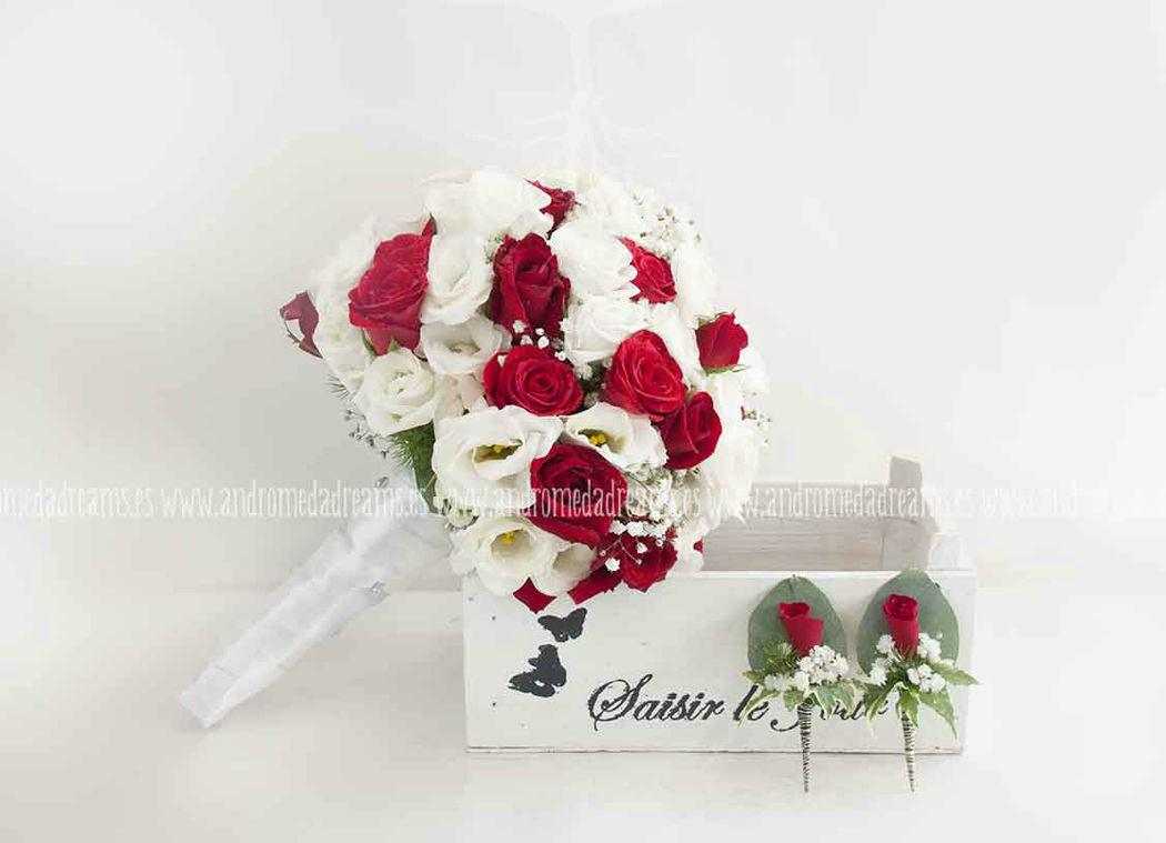 Ramo de novia rojo y blanco