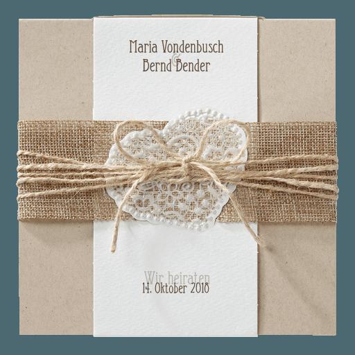 Belarto-Hochzeitseinladungskarte im Vintagestil mit Sisal und Packband