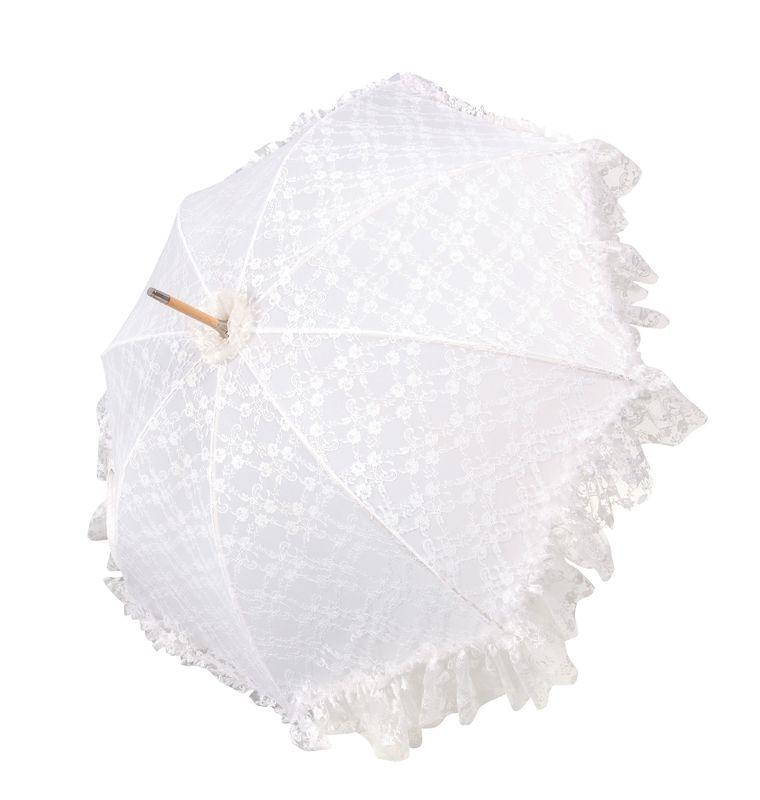 Parapluie Mariage de luxe - Dentelle blanche - Manche en bois - Fabriqué à la main en Autriche