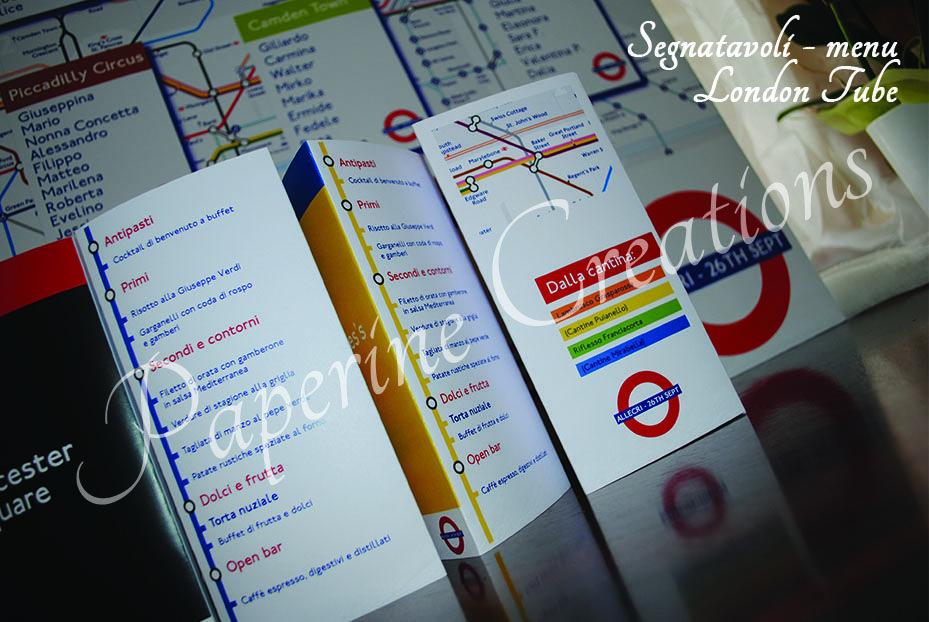 Menu Segnatavolo London Tube
