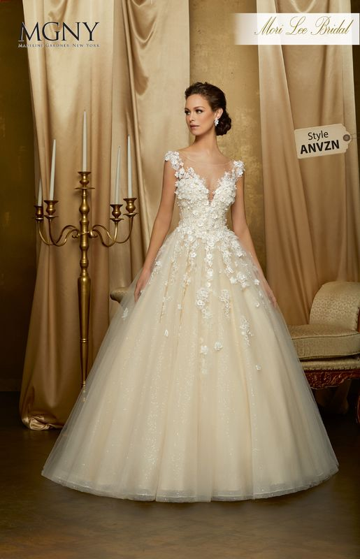 Style ANVZN Odessa  Crystal beading, hand-cut, three dimensional floral appliqués and lace on a tulle ball gown over sequined tulle