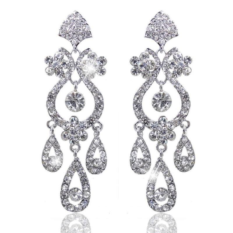 boucles d'oreilles mariage chandelier cristal Déesse