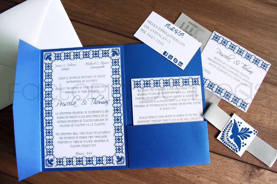 Invitación muy mexicana, tipo talavera para unos novios de Toronto, Canadá que se casaron aquí en México.