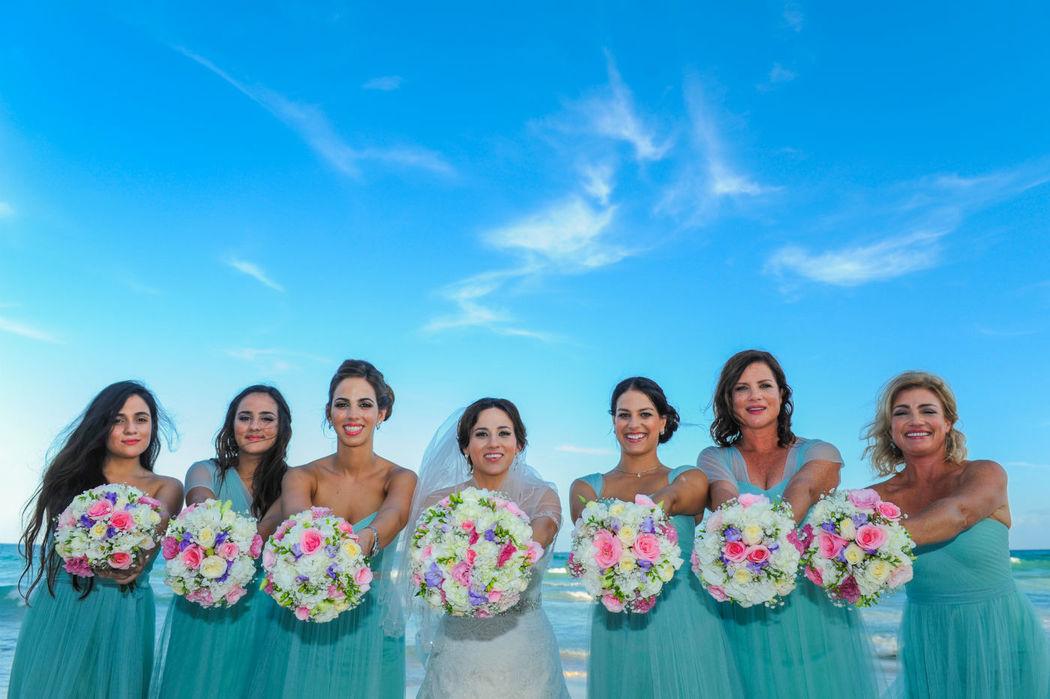 novia y sus damas, bride and her bridesmaids
