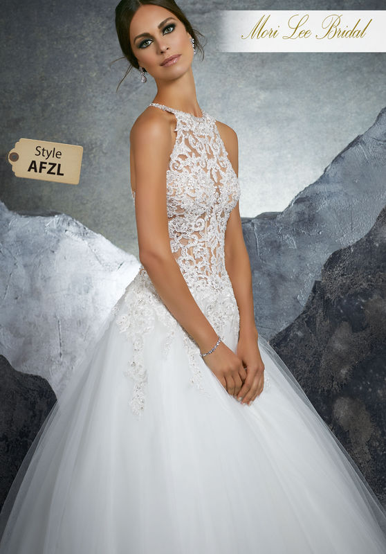 Style AFZL Kathleen Wedding Dress  Crystal Beaded Alençon Lace Appliqués Adorn the Gorgeous Sheer Bodice on This Tulle Bridal Ball Gown. A Beautiful Racer Back Trimmed in Covered Buttons Completes the Look. Matching Satin Bodice Lining Included. Colors Available: White, Ivory, Ivory/Nude