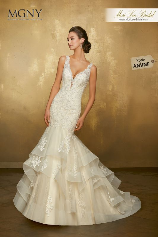 Style ANVNF Olivette  Crystal beaded, alençon lace appliqués over chantilly lace on a horsehair edged, flounced tulle mermaid