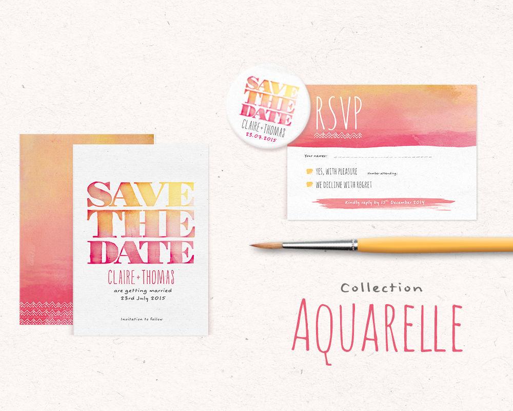 Faire part, invitation de mariage Aquarelle Watercolor by Pepper & Joy. Dégradé de couleurs, save the date magnets et effet de typographie sauront séduire vos invités avec originalité.