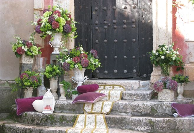 entrada con hortensias