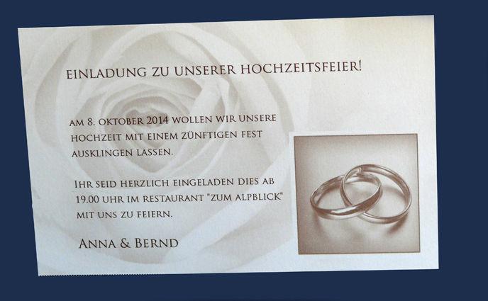 Beispiel: Klassische Hochzeitsleindungen, Foto: Druckerei Leue.