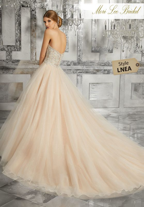 Style LNEA Mystique Wedding Dress  Fit for a Fairytayle, This Beautiful Bridal Ballgown Features a Diamanté and Crystal Beaded Embroidered Bodice and a Full Skirt Tulle Skirt Over Sequined Net. Colors Available: White, Ivory, Ivory/Nude.