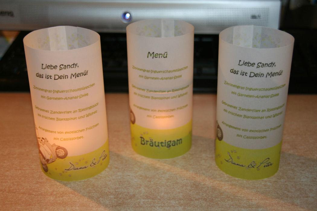 Teelicht-Menükarte, Cela-Design