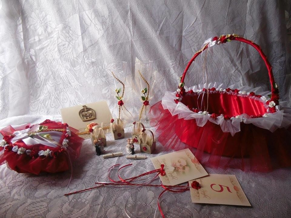 Conjunto bodas rojo y blanco
