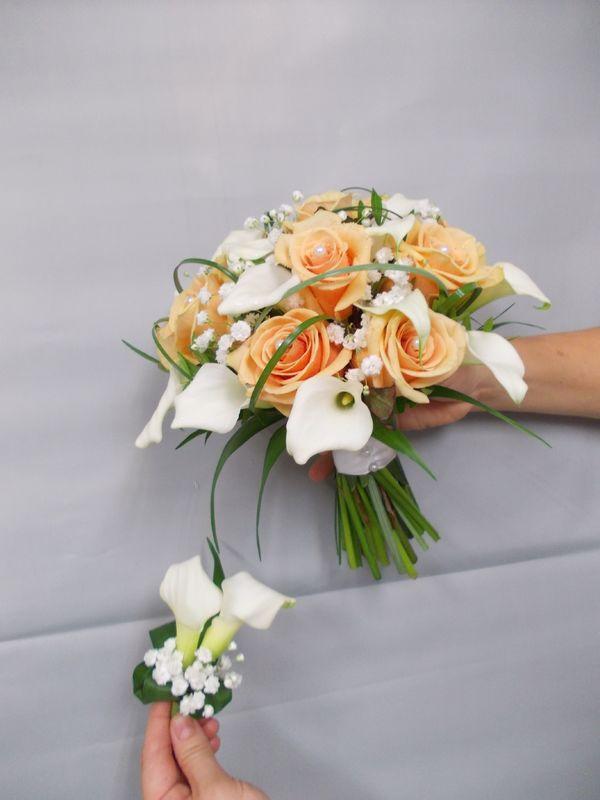Bouquet de mariée tiges apparentes et boutonnière assortie
