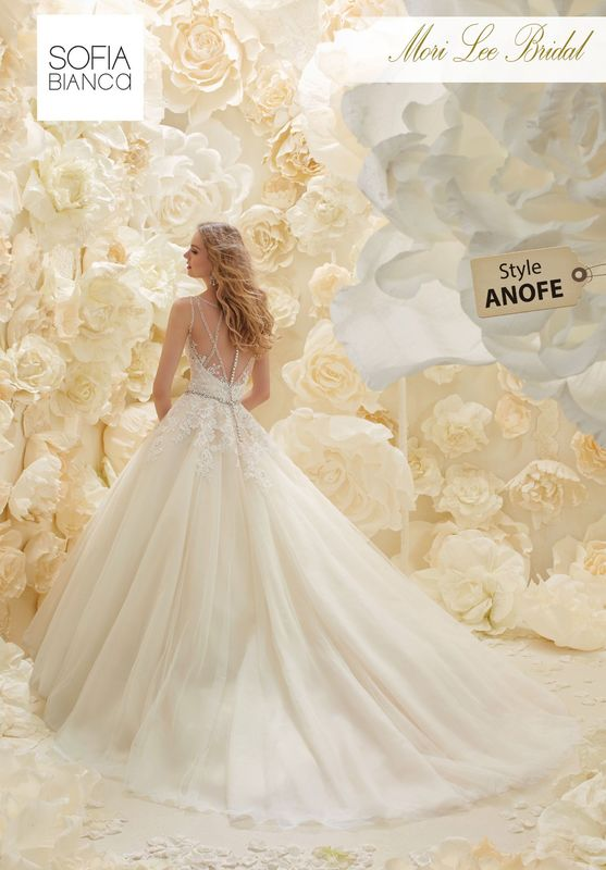 Style ANOFE EMBROIDERED LACE APPLIQUES ON A TULLE BALL GOWN WITH CRYSTAL WAISTBAND, ILLUSION BACK AND CRYSTAL BACK DETAIL  COLOURS WHITE, IVORY, LIGHT GOLD