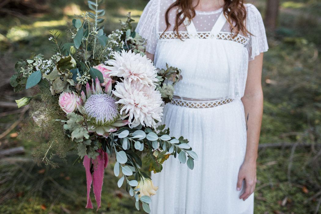 Brautstrauß, Herbsthochzeit, Protea