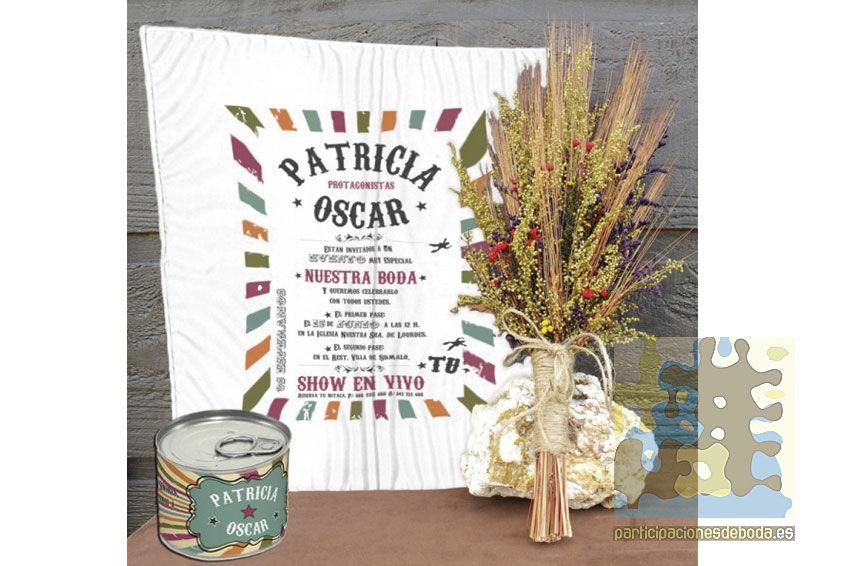 Invitaciones de Boda en pañuelos retro vintage