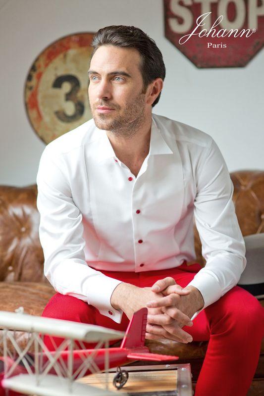 Chemise sur mesure Johann finitions rouge avec pantalon sur mesure